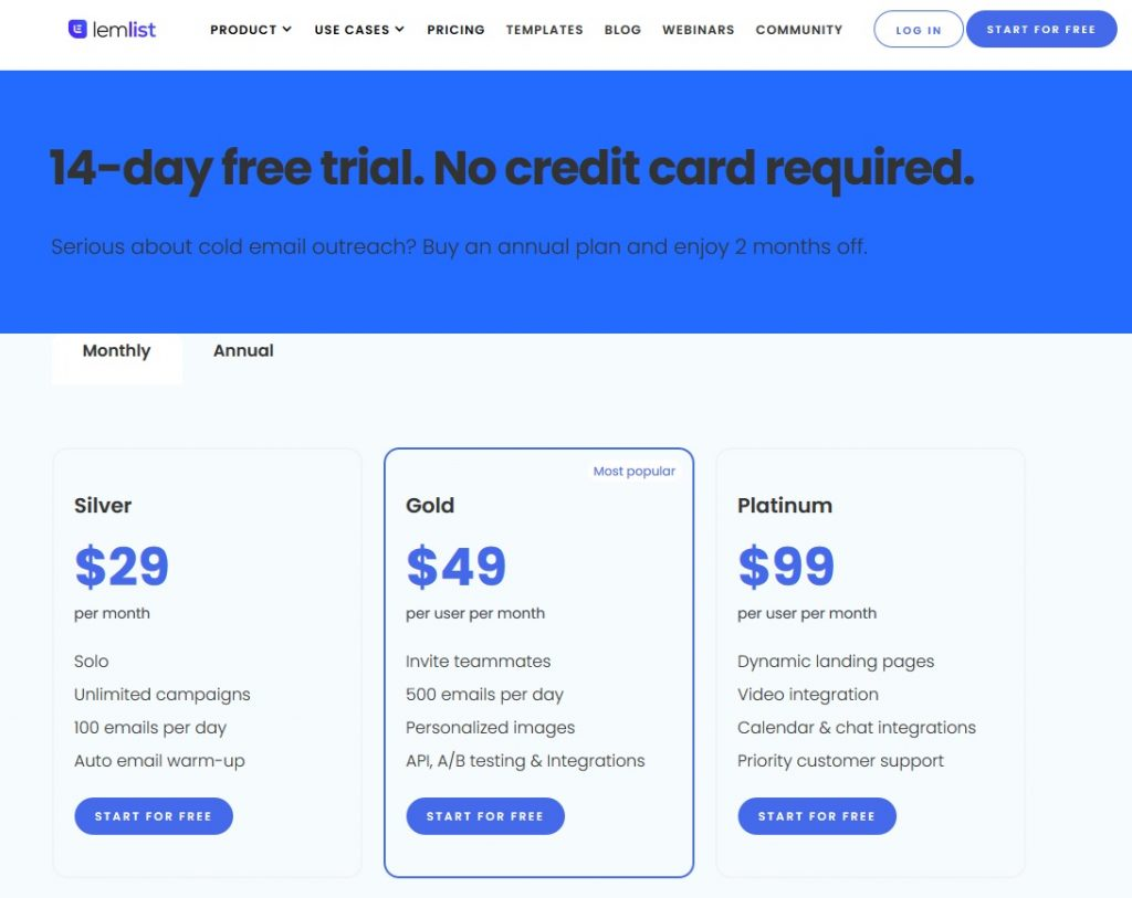 SaaS Conversion Rate - Pricing Page Example from Lemlist